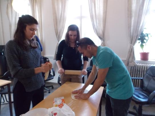 Jun kneading the dough for pilipit