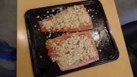 Preparing the salmon for baking