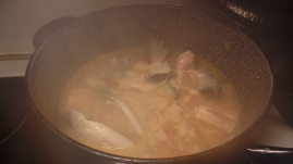 Cooking the sinigang na salmon