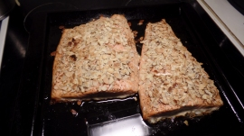 Baked salmon is done!